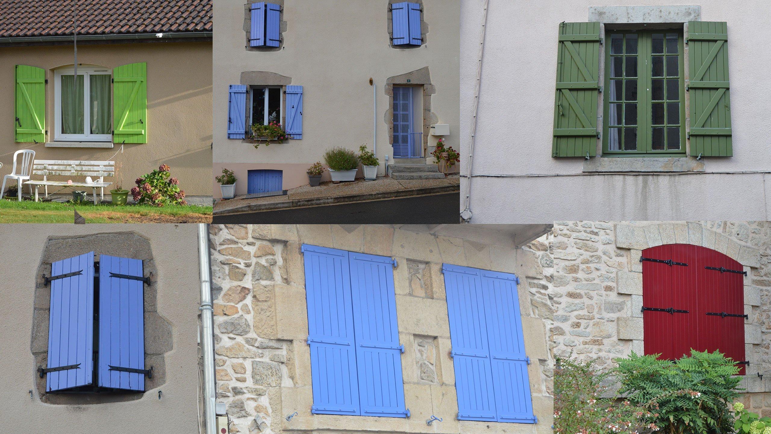 Coloured shutters of France, volets de couleur de france